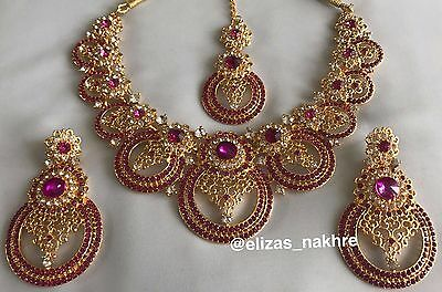 Bollywood Style Red and Gold necklace set