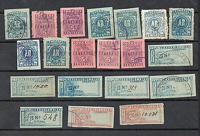 COLOMBIA 1902 REGISTRATION stamps, AR + Retardo, lot of 20 incl. scarce AR perf.