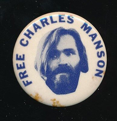 FREE CHARLES MANSON Original 1970s Protest Pinback Button Pin