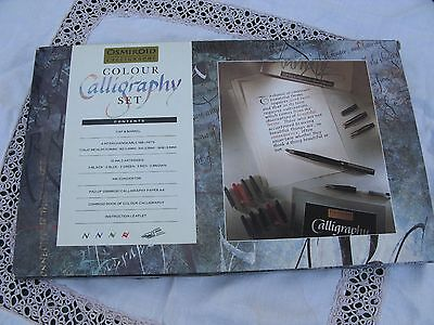 Vintage Osmiroid Colour Calligraphy Pen Set With 4 Nibs Ink Convertor Book Paper