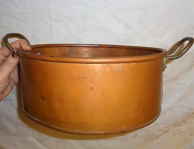 "Vintage Solid Copper Braised Oval Pan 10"" x 9"" x 4 - Unlined - Copper Handle NMM"