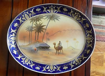 A Antique Old Noritake Large Cobalt Blue & Gold Gilt Large Dish wt Desert Scene