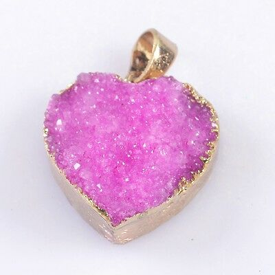 Heart Hot Pink Agate Druzy Geode Pendant Bead Gold Plated B032632