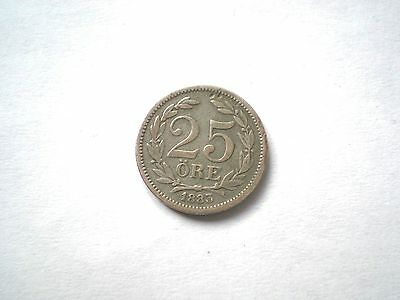 Early Hard To Find- Silver - 25 Ore Coin From Sweden-Dated 1883-Nice