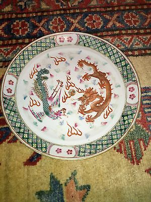Magnificent Antiques Chinese Porcelain Plate Dragon And Phoenix