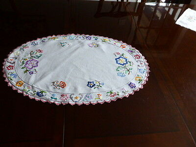Amazing vintage embroidered oval table centre