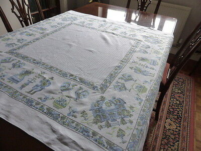 Lovely blue and white square linen table cloth