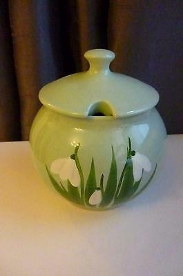 VINTAGE HOLKHAM POTTERY LIDDED JAM POT DECORATED WITH SNOWDROPS - Great Condtn