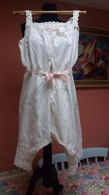 Vintage Victorian White Cotton Camiknickers Combination Lingerie Embroidery