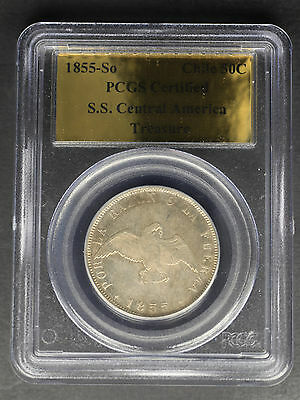 1855-So Chile Silver 50 Centavos from the S.S. Central America PCGS -160457