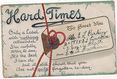 WW1 POSTCARD - HARD TIMES -SENT TO T.E. PARKIN no15153 KILLED IN ACTION FLANDERS