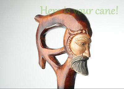 King - Wooden Walking Stick Handmade Carved Cane Crafted Staff Wood Art Gift