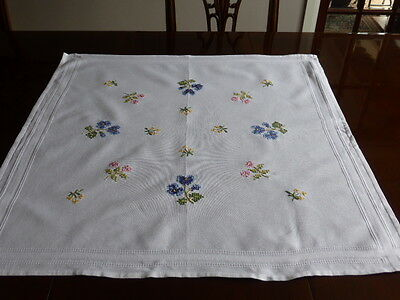 Small white square embroidered table cloth