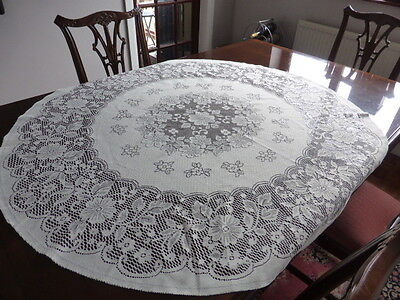 Cream oval lace table cloth