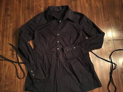 H&M Mama Maternity Black Long Sleeve Button Shirt With Tie Back On Top Black M