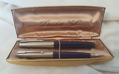 Vintage Parker 51 Fountain Pen And Pencil Set Jewels Jeweled Nice