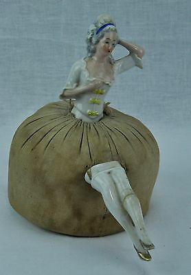 Antique porcelain doll pin cushion, most likely German 1920's (BI#MK/170603)