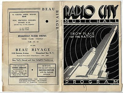 Radio City. MUSIC HALL. Show Place of the NATION. Program. Booklet.(BI#BX51)