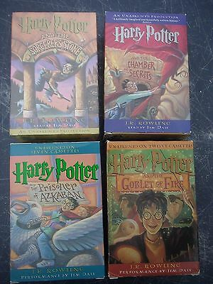 Lot 4 Harry Potter #1-4 Audio Cassette Books Sorcerer's Stone Jim Dale Mint/New