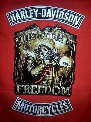 Harley Davidson Blk & White Rockers, With ''SKULL HUNTER'' Freedom Patch.