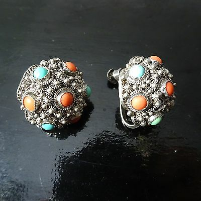 Vintage antique Chinese sterling silver coral & turquoise earring