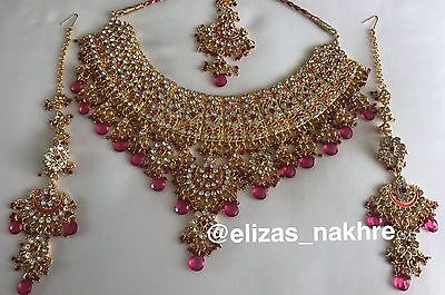Indian/Pakistani Bollywood Style Pink and Gold necklace set