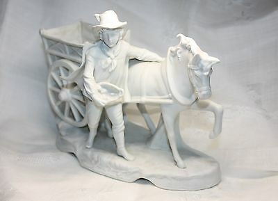 vintage bisque porcelain horse carriage and dapper young man planter figurine