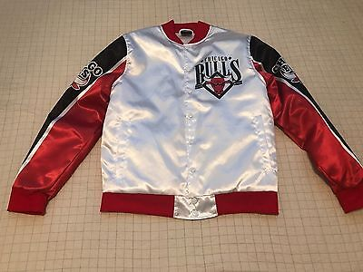 Chicago Bulls NBA Basketball Vintage Polyester Snap Jacket White Red Men's NWT