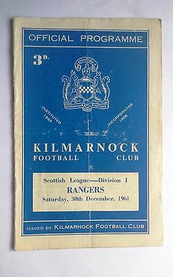 Kilmarnock v Rangers 30th December 1961 Scottish League Division 1 Programme