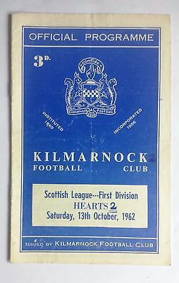 Kilmarnock v Hearts 13th October 1962 Scottish League Division 1 Programme