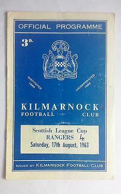 Kilmarnock v Rangers 17th August 1963 Scottish League Cup Football Programme