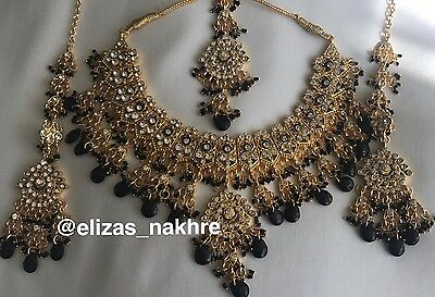 Indian/Pakistani Bollywood Style Black and Gold necklace set Earrings And Tikka