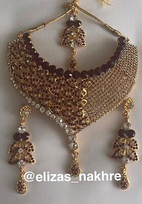 Bollywood Style Red and Silver necklace set With Earrings And Tikk