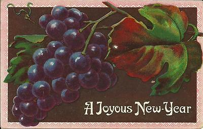 A Joyous New Year - Bunch Of Grapes (Colour Printed Postcard) 1910