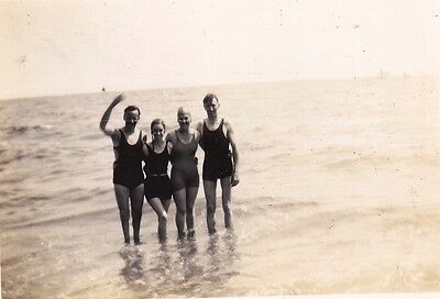 Vintage Old Holiday Photo Two Men Ladies In Swimear Standing In Sea 1930's