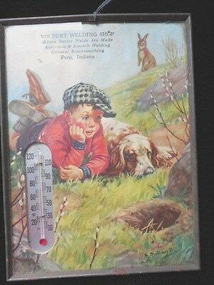 1940-1950's Vintage Advertising Thermometer Picture  Boy Dog Rabbit  ADORABLE