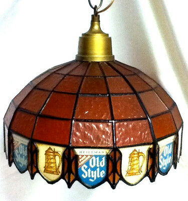 Old Style beer sign lighted hanging light stained glass l/k Heileman Brewery IE1