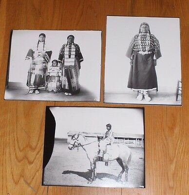 Lot of 3 Native American Indian Photographs 8 X 10 Unknown Tribe Black & White
