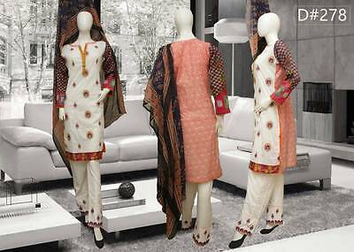 Pakistani Embroidered 3PC Lawn/Cotton Kurti/Kurta/Kameez +Shalwar & Dupata