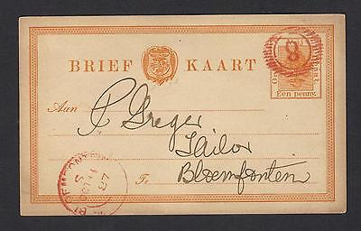 Orange Free State postcard 1887, 16-bar cancel in red.