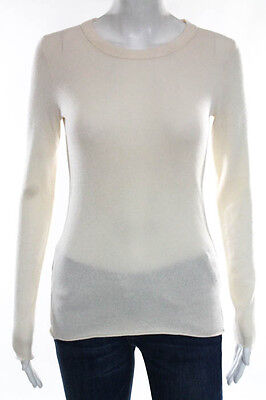 J Crew  Ivory Cashmere Crew Neck Long Sleeve Sweater Size Extra Small
