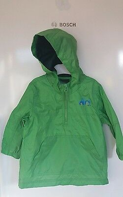 Next baby boys green rain jacket with hood 12-18 months good condition