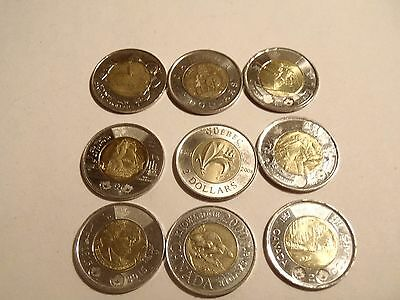 lot of 9 Canada two dollar commemorative coins $18.00 face value no repeats