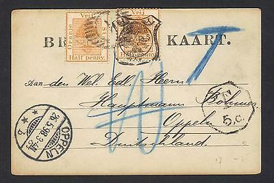 Orange Free State postcard 1898, uprated, taxed, 11-bar alphabetical cancel.