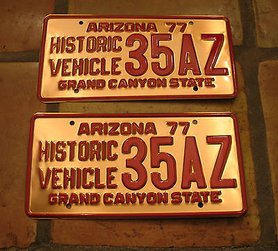 Arizona Copper Historic Vehicle License Plate Pair 35Az 35 Arizona!