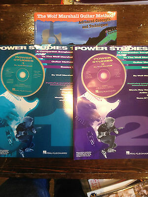 3 WOLF MARSHALL BOOKS: GUITAR METHOD & POWER STUDIES PART 1 & 2 WITH CDs
