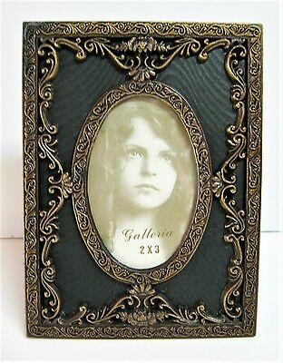 Ornate Antique Gold Tone Brass Victorian Picture Frame Holds 2x3 Photo
