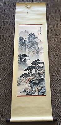 Old atq. large Chinese Scroll Painting w/LANDSCAPE 18x63  Signed
