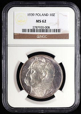 1939 Poland 10 Zlotych, SILVER, NGC MS-62