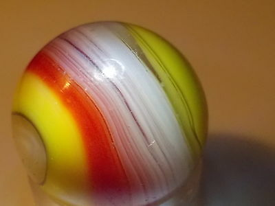 Nice Red and Yellow Popeye Corkscrew Akro Agate 5/8